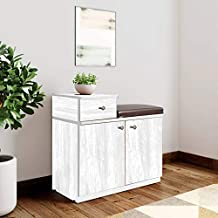 Bharat Lifestyle Earth Engineered Wood Shoe Rack (White, 2 Shelves & 1 Drawer with Seating)