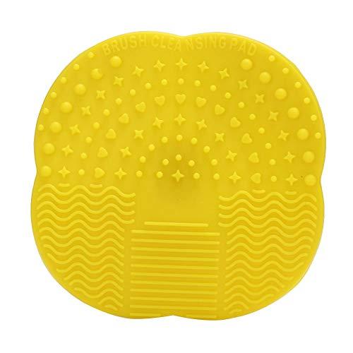 Tampon de nettoyage de brosse de maquillage, outil cosmétique de brosses cosmétiques de silicone de lavage de conseil de nettoyage de conseil de récureur(Jaune)