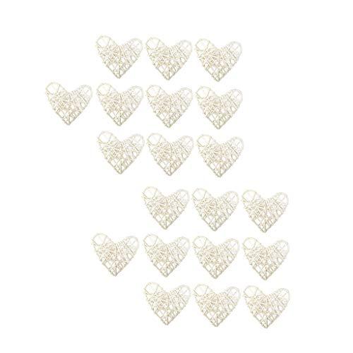 freneci 20pcs Rattan Love Heart String Lights - Decoración de Bodas, Fiesta en Casa