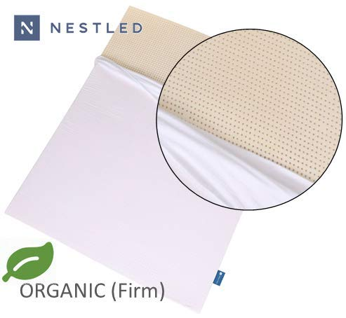 Certified Organic 100% Natural Latex Mattress Topper - Firm - 3 Inch - Queen Size - Organic Cotton Cover Included.