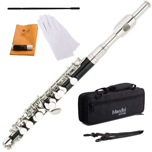 Mendini MPO-EN Black Resin Key of C Piccolo with Nickel Plated Keys with Case, Joint Grease, Cleaning Cloth and Rod, and Gloves