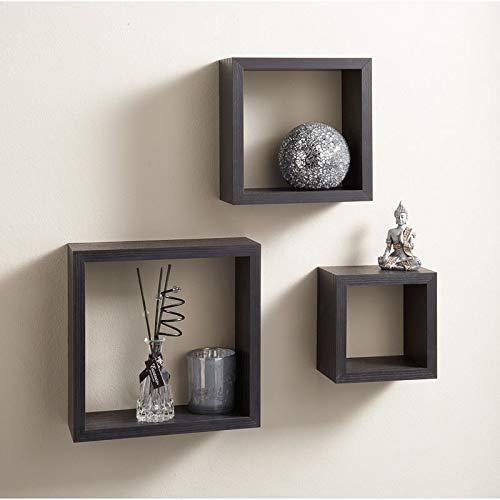 Spotondealz Cali Wall Floating Cube Box Shelf/Shelves Set of 3 Wall Hanging Display Shelving Unit-Black