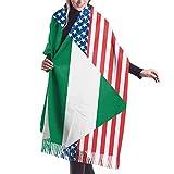 Bufanda de mantón Mujer Chales para, Mujeres Hombres Bandera de Estados Unidos y Nigeria Bufanda de cachemira Adorable Chal Abrigo Bufanda Invierno Cálido Bufandas acogedoras