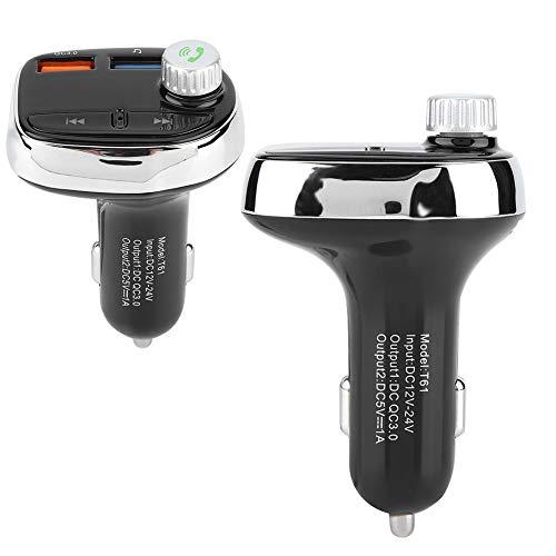 Cargador de coche Bluetooth, Kit de coche Bluetooth manos libres inalámbrico Reproductor de MP3 Transmisor FM Cargador USB dual
