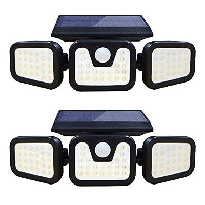 LETRY Solar Security Lights 3 Head Solar Motion Sensor Light Adjustable 74LED Flood Light 270° Wide Angle Illumination IP65 Waterproof Solar Lights Outdoor for Porch Garage Patio Yard, 2 Pack