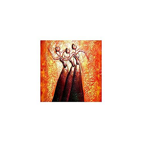 Moderne abstrakte Balletttänzerin Frican Woman Malerei auf Leinwand Poster und Drucke Wand Pop Art Bild für Wohnzimmer Dekor Malerei 40x40cm/15,7 'x 15,7' gerahmt