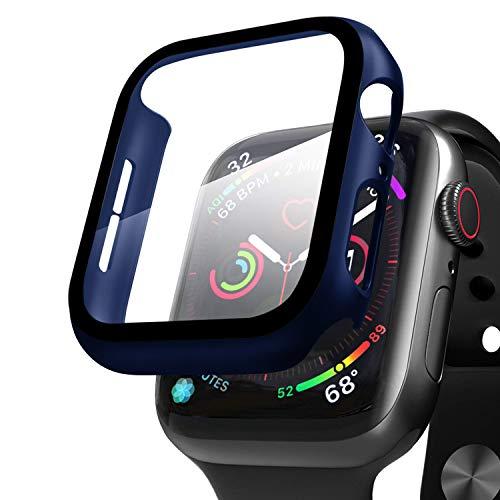 Compatible con Apple Watch 44mm Serie 6/SE/5/4 Funda+Cristal Templado, Qianyou PC Case y Vidrio Protector de Pantalla Integrados, Slim Cover de Bumper y Protector Pantalla (Azul)