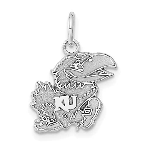 Collar con colgante de plata de ley 925 maciza pulida no grabable de la Universidad de Kansas con colgante de joyería para mujeres