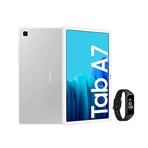 Samsung Galaxy Tab A7 - Tablet de 10.4' FullHD, Color Plata + Galaxy Fit2 - Monitor de frecuencia cardíaca, Color Negro
