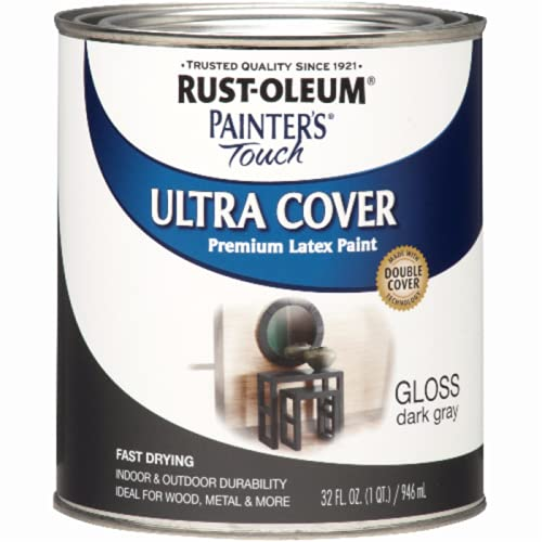 Rust-Oleum 1986502 Painter's Touch Latex Paint, Quart, Gloss Dark Gray