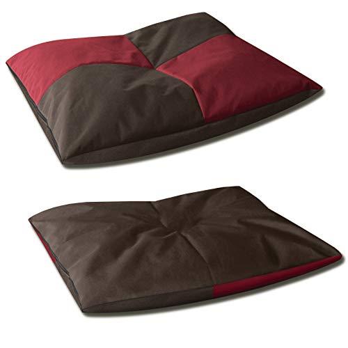 BedDog® 2in1 hondenmand BONA, dubbelzijdig vierkant hondenkussen, grote hondenbed, hondensofa, wasbaar, met afneembare hoez, XL rood/bruin