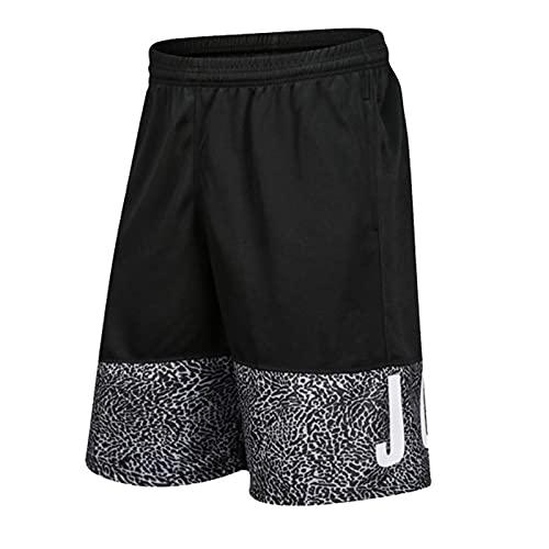 YUEMO Short Noir Basket Short Sport Basket Garcon Short De Basket Homme 3XL, Short Sport avec Poche Zippée Homme