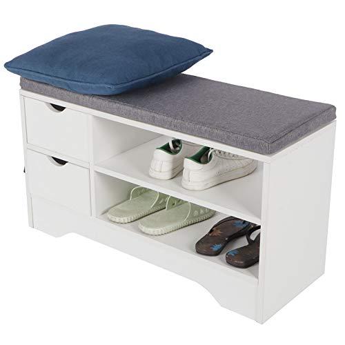 Banco de zapatos de 2 niveles con cojín de asiento, estante de zapatos con espacio de almacenamiento, armario de almacenamiento con 2 cajones para hogar, sala estar, pasillo blanco, 30 x 80 x 46 cm