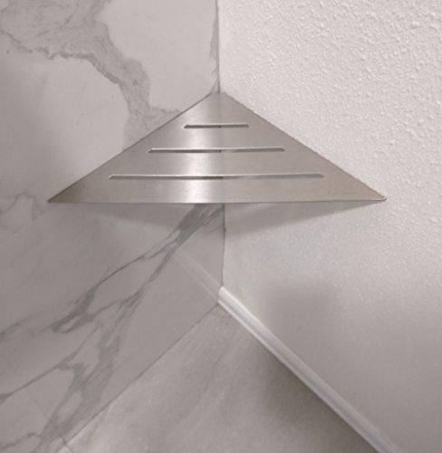 "SereneDrains Stainless Steel Bathroom Shower Triangle Corner Shelf Foot Rest Prop Wall Mount 9"" Hardware Included Shower Shelf for Bathroom"
