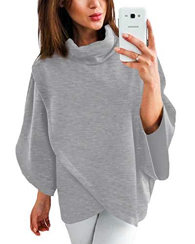 YOINS Damen Pullover Oberteil Poncho Winter Warm Asymmetrische für Damen Pulli Cardigan Sweatshirt Rollkragenpullover Langarm Grau M