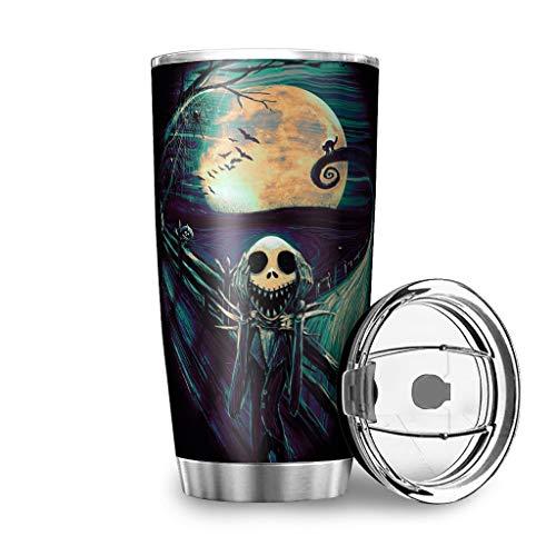 Niersensea Tazas de acero inoxidable con diseño de Pesadilla antes de Navidad, taza de viaje de doble pared, taza de viaje con tapa a prueba de salpicaduras, antigoteo, color blanco, 900 ml