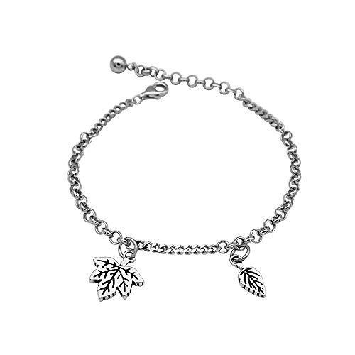 Persönlichkeit Retro Ahorn Blatt Blatt Armband S925 Sterling Silber Nähte Armbänder Temperament Damen Modeschmuck