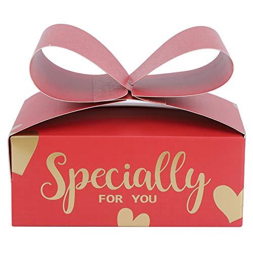 SZHWLKJ 30 Unids Red Bowknot Candy Boxes Regalo Transporte Cajas para Galletas Party Christmas Cumpleaños Bodas Suministros