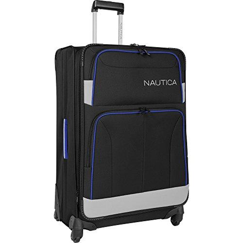 Nautica 28' Expandable Spinner Luggage, Black/grey/cobalt