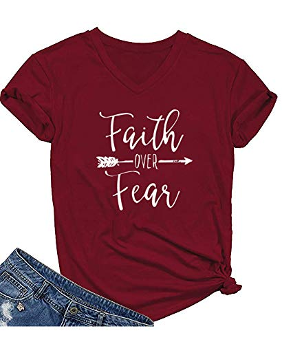 Qrupoad Womens Summer Casual Letter Print T-Shirt Short Sleeve Faith Over Fear Arrow Tee Tops Burgundy