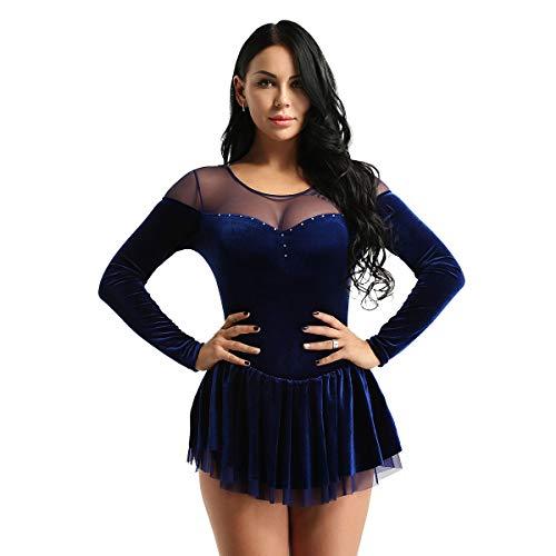YiZYiF Vestido Patinaje Artístico Mujer Maillot Danza Latina Manga Larga Leotardo Ballet Body Gimnasia de Terciopelo Traje Bailarina Actuación Fiesta Azul M