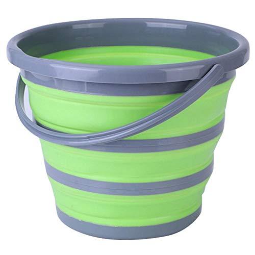 Cubo plegable Cubo plegable lavado de autos pesca al aire libre ronda baño cocina cubo verde-Verde