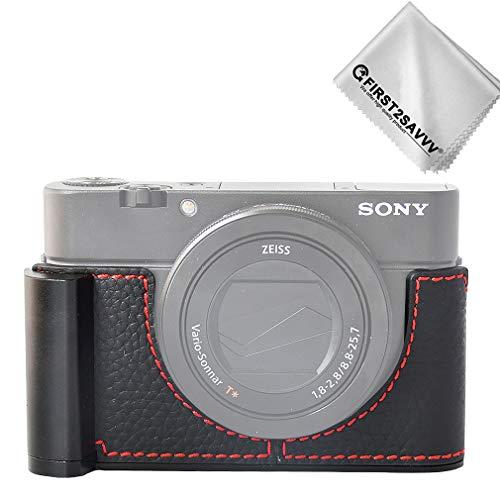 Negro Funda de Piel Genuina para cámara Sony DSC RX100 Vi RX100 V RX100 IV RX100 III RX100 II RX100 M6 M5 M4 M3 M2 M1