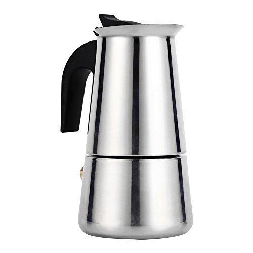 Asixx Cafetière Italienne, 100ml 200ml 300ml 450ml Cafetière Italienne en Acier Inoxydable Pot de Moka Cafetière à Expresso pour Bureau et Maison(100ml)