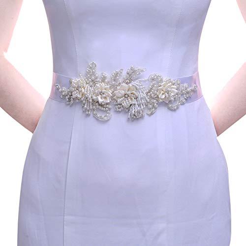 TOPQUEEN Strass und Perle Gürtel für Hochzeit Schärpe Blumenmädchen Schärpe Besondere Anlässe Kleider sein Schärpe für Brautkleid (Weiß)