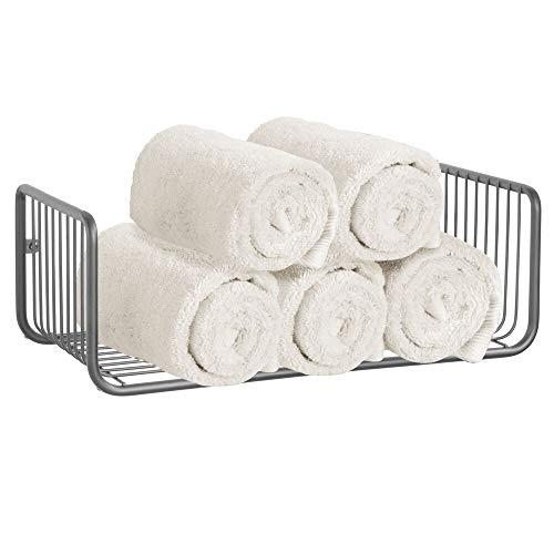 mDesign Repisa de baño – Estante de pared con una balda para guardar champú, sales de baño, cosméticos y otros utensilios de baño – Práctico y decorativo estante para ducha – gris