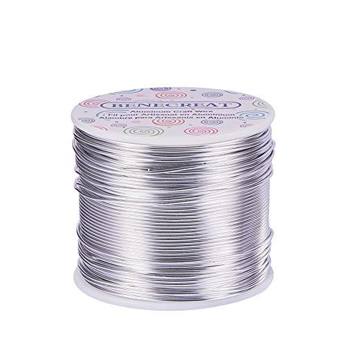BENECREAT 1.2mm Aluminiumdraht 116m Lang(380 Füße) Eloxiert Schmuck Handwerk machen Friesen Floral farbigen Aluminium Craft Draht - Silber