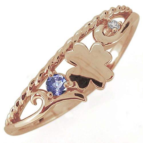 [プレジュール]クローバー 指輪 唐草リング 12月誕生石 タンザナイト レディース ピンクゴールド K10 10金 リングサイズ13号