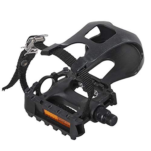 """DRBIKE Bike Pedals with Toe Clips/Cages and Straps, 9/16"""" PP Bicycle Pedals for Exercise Bike Mountain Bike, 1 Pair"""