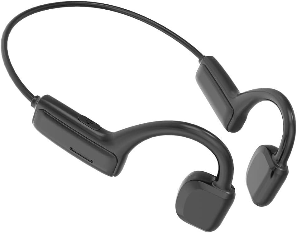 CTVDIGITAL Headphones G1 Bone Conduction Bluetooth 5.1 Open Ear Wireless HiFi Stereo with Mic Sweatproof Sports Headphones for Running Driving Cycling (Black)