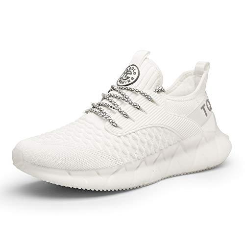 tqgold® Herren Damen Sportschuhe Laufschuhe Atmungsaktiv Sneaker Leichte Trainers Schuhe Weiß 39