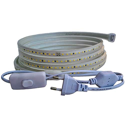 Ahorraluz Tira 220v 2835 120 Led/m Alta LUMINOSIDAD, con Interruptor. Impermeable Frío/Neutro Waterproof IP67 Strip (Blanco Cálido, 1M), 11 W