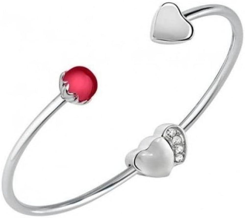 Morellato bracciale cuff ,per donna,in  acciaio inossidabile ,con charms a forma di cuore e pietra rossa SCZ990