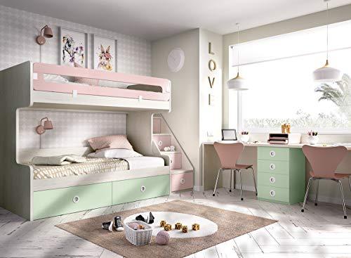 Kinderzimmer Hochbett Jump 310, mit Treppe und viel Platz für Stauraum,auch für kleine Räume geeignet, Schreibtisch,freie Farbwahl