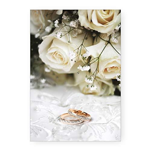 Biglietto Auguri Nozze Rose E Fedi Idea Regalo Matrimonio