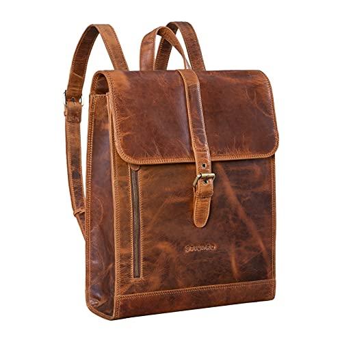 STILORD 'Grover' Leather Laptop Rucksack Vintage Business Backpack Large Daypack for 16' Laptops Notebook Shoulder Bag Work Bag Travel Bag Genuine Leather, Colour:Kara - Cognac