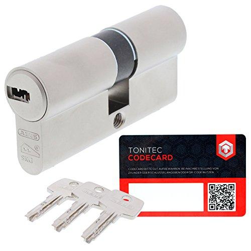 ABUS Schließzylinder Schließanlage Zylinderschloss als Doppelzylinder gleichschließend EC550 mit 3 Schlüssel inkl. ToniTec CodeCard Größe 30 30 mm Schließung 1