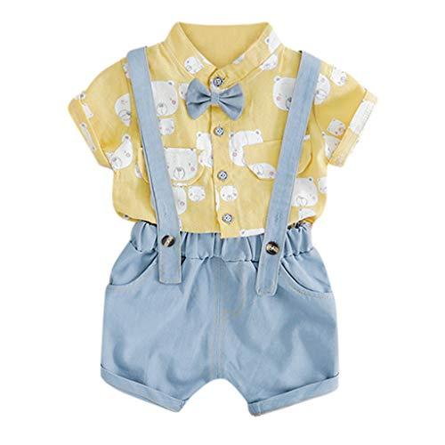 Zylione Kinder Kleidung Set Junge Baby Kurzarm Bärendruck Krawatte Shirt T-Shirt + einfarbig Gurt Shorts Zweiteilige Anzug Kindertagesgeschenk