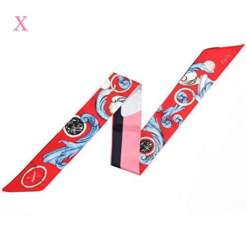 LPudding 26 Buchstaben-Print Damen Schal aus Seide, modischer Kopftuch, kleine Krawatte, Grifftaschen, Bänder, Sternbild, weibliche Halstuch, X, 100 cm, 6 cm