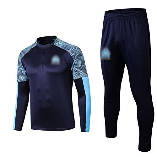 THUK 19-20 Marseille International City Football Training Anzug, langärmelige Sportkleidung Trainingsanzug Set, Outdoor Sports Herren Langgezeichnete Sportbekleidung (S-X Royal Blue-M