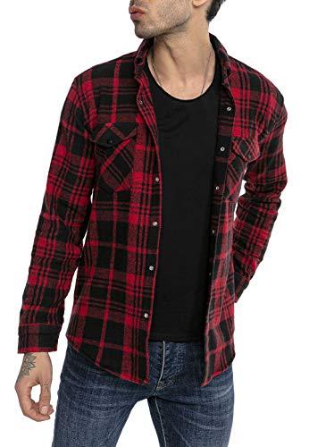 Redbridge Chemise Casual pour Homme à Carreaux Shirt quadrillé Vintage Rouge S