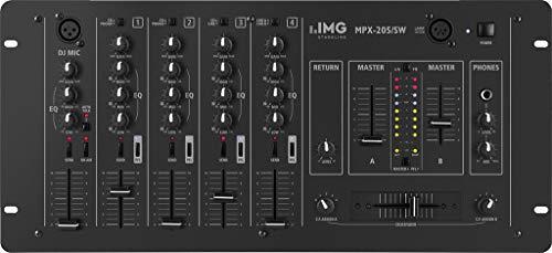 IMG Stageline MPX-205/SW Stereo-DJ-Mischpult, 4 Stereo-Kanäle, schwarz