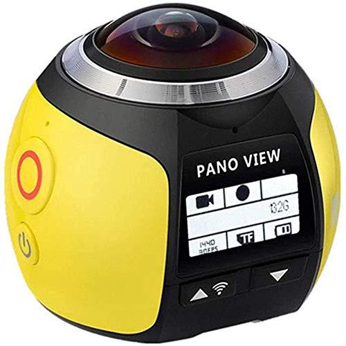 Cámara de acción 4K, videocámara panorámica de 360°, lente de gran angular de 220°, cámara digital para deportes, con funda impermeable (30 metros impermeable), color amarillo