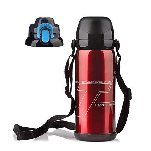 JIAOJIAN 800ML Edelstahl Isolierflasche Vakuumflasche Thermoskanne heißen Kaffee Outdoor-Sport-Tasse Rot 800ml