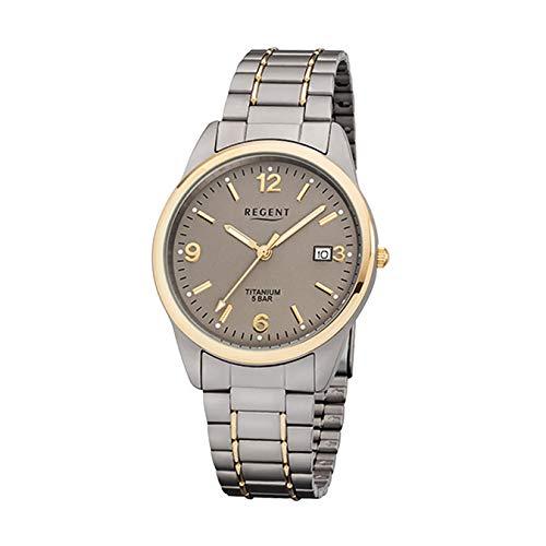 Regent de Hombre Reloj de Pulsera Elegante Analog Titanio Pulsera de Plata (Gris Oro Reloj de Cuarzo Esfera marrón urf1107