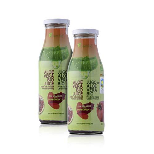Green Frog Jugo de Aloe Vera Bio con Granada, Aloe Vera Fresco para Beber Ecológico Elaborado en España Pack de 2 Botellas, 2x500 ml